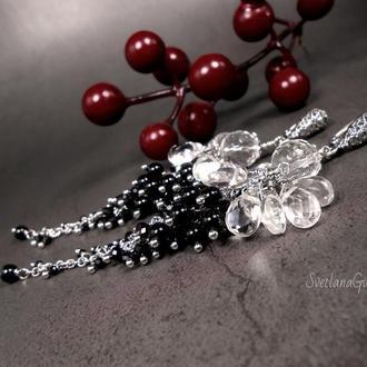 Серебряные серьги грозди с горным хрусталем и шпинелью