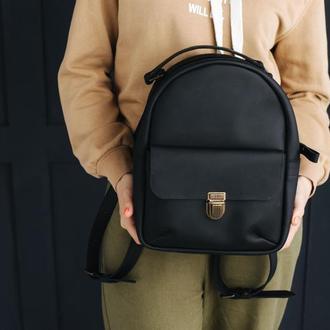 Рюкзак из натуральной кожи. Женский кожаный рюкзак. Городской рюкзак. Черный женский рюкзак