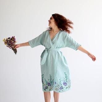 Льняное женское платье кимоно накидка с ручной росписью цветы