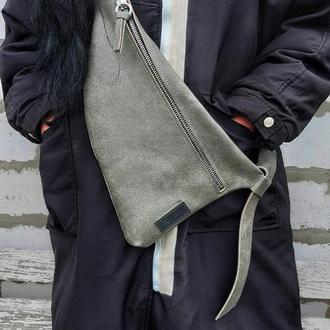Натуральная кожа.  Слинг, однолямочный рюкзак, бананка