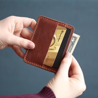 Кожаный мини кошелек_небольшой мужской кошелек из кожи_картхолдер