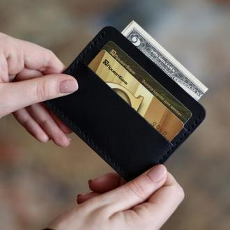 Небольшой кожаный мужской кошелек для карт_картхолдер_кожаный мини кошелек_подарок мужчине