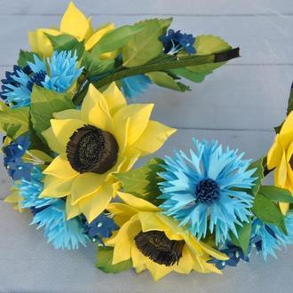 Обруч из подсолнухов и васильков Цветочный ободок для девочки в национальном стиле под вышиванку