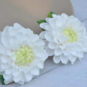 Резинки с белыми георгинами для школьницы Цветочные резиночки для девочки