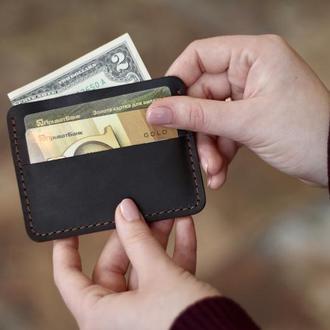 Кожаная кредитница_кожаный мини кошелек_картхолдер_подарок мужчине