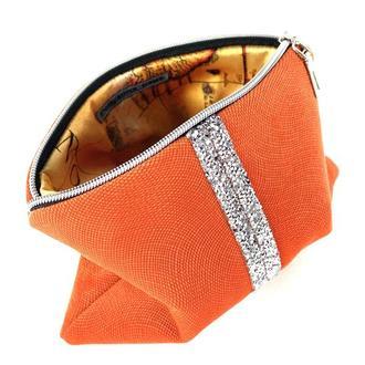 Женская косметичка, цвет оранжевый, инкрустация камней