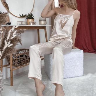 Атласный молочный пижамный комплект Афина