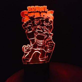 3d-светильник Сэнди, Sandy, Brawl Stars, Бравел Старс, 3д-ночник, несколько подсветок