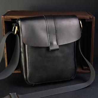 """Мужская сумка """"Модель №44"""" Кожа Итальянский краст цвет Черный"""