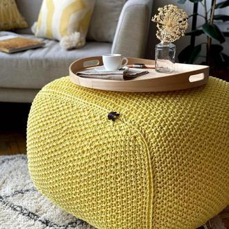 Лимонный квадратный вязаный пуф