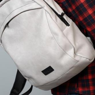 Мужской серый вместительную рюкзак, экокожа