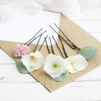 Шпильки с цветами гортензии в прическу невесте / Свадебные шпильки для волос