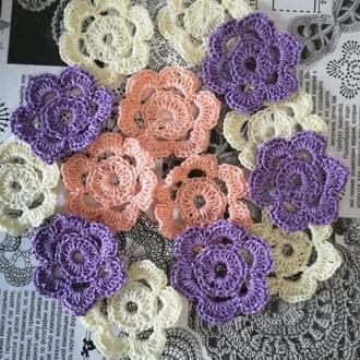Набор вязаных цветов для скрапа