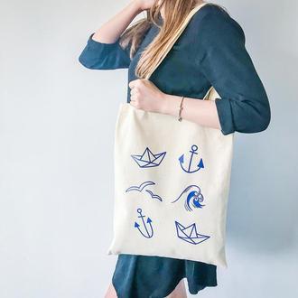 Эко-сумка Морская бежевый