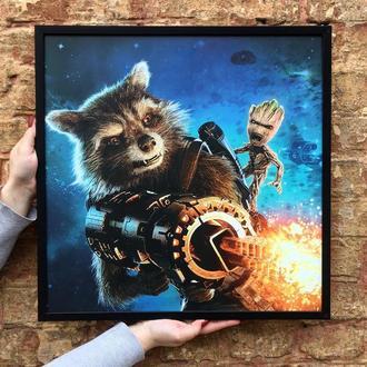 "Постер ""Ракета Енот и Грут"" (Raccoon Rocket n Groot)"