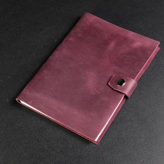 Блокнот в кожаной обложке формата А5 Винтажная кожа цвет Бордо