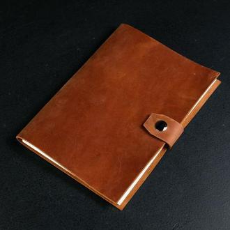 Блокнот в кожаной обложке формата А5 Винтажная кожа цвет Коньяк