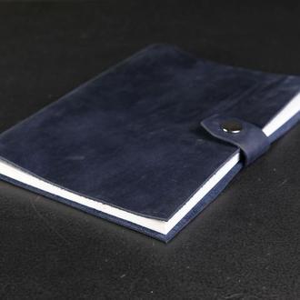 Блокнот в кожаной обложке формата А5 Винтажная кожа цвет Синий
