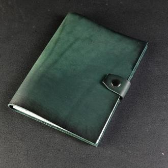 Блокнот в кожаной обложке формата А5 Итальянский краст цвет Зеленый