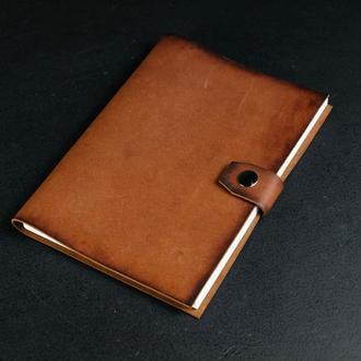 Блокнот в кожаной обложке формата А5 Итальянский краст цвет Коричневый