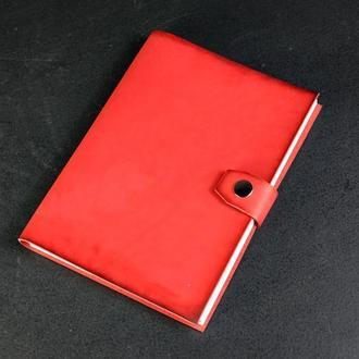 Блокнот в кожаной обложке формата А5 Итальянский краст цвет Красный