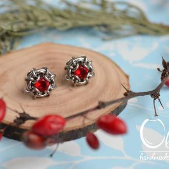 Серьги гвоздики с кристаллами ( красные )