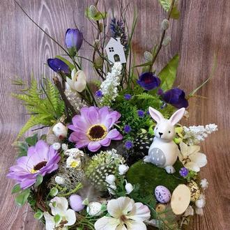 Пасхальный венок композиция великодній вінок декор топиарий мини сад