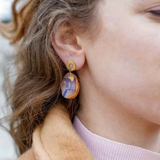 """Серьги """"Луна"""", серьги из ювелирной смолы, подарок для девушки, стильные сережки ручной работы"""