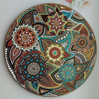 "декоративная тарелка ""Шоколад и бирюза"""