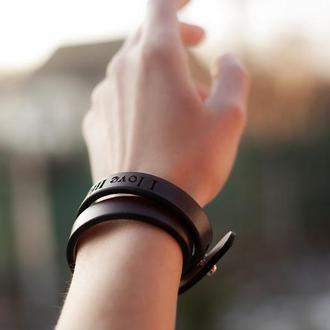 Кожаный браслет-намотка с любым рисунком или вашей фразой
