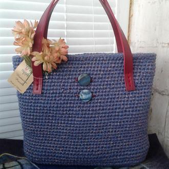Женская сумка шопер  Розовая дымка Вязание