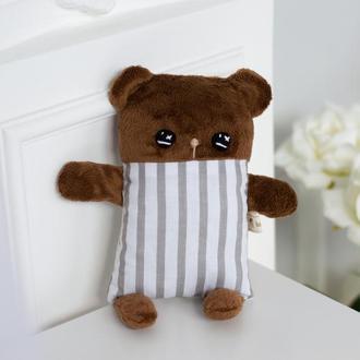 Плюшевый мишка в полосочку, мягкая игрушка