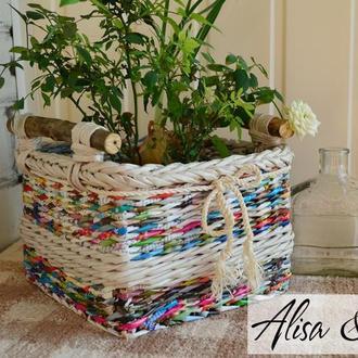 Кашпо-корзинка плетеная для цветочного горшка 22х22х16см.
