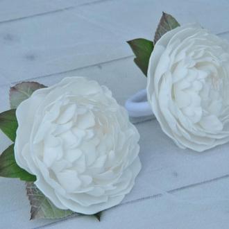 Белые пионы резинки для волос Цветочные резинки для школьницы