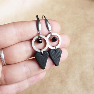 Черные серьги сердечки из полимерной глины Серьги с подвесками Геометрические серьги