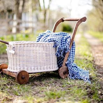 Плетеная корзина - каталка для ваших малышей Ходунки Тележка для хранения игрушек Фотореквизит