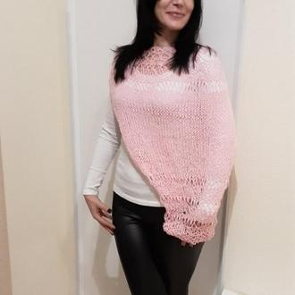 Пончо- рукав Шраг вязаный розовый. Накидка на одно плечо