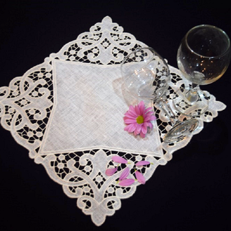Richelieu embroidery Embroidered white linen napkin Вышитая салфетка