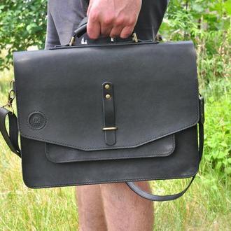 Классическая кожаная сумка- портфель с ручкой и долгим ремнем