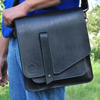 Кожаная сумка для ноутбука и документов с долгим поясом и ручкой