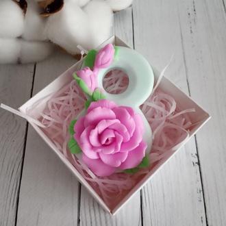 """Мыло """"Восьмёрка с розой"""""""