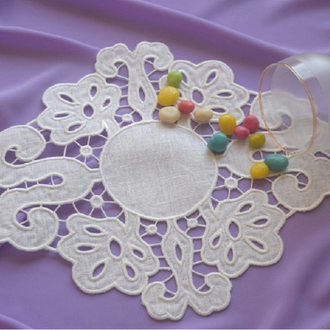 Richelieu embroidery Embroidered white linen napkin Вишита серветка
