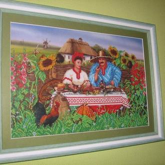 Картина из бисера. Обед в деревне на природе