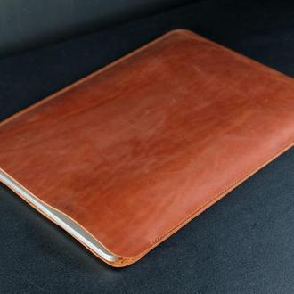 Кожаный чехол для macbook дизайн №1, винтажная кожа, цвет  коньяк