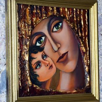 Богородица с младенцем, живопись,объемная работа с золотыми элементами,размер полотна 20х20см