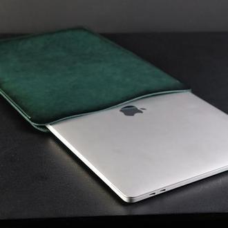 Чехол для MacBook Кожа Итальянский краст цвет Зеленый