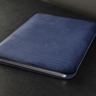 Чехол для MacBook Кожа Итальянский краст цвет Синий