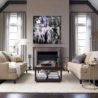 Картина абстракция белое и черное