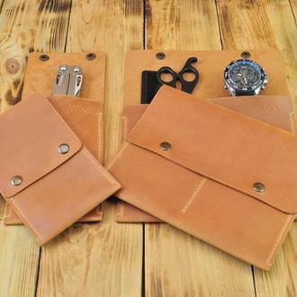Кожаный набор из двух органайзеров для инструментов и аксессуаров