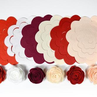 Розы из фетра большие, вырубка из фетра, набор для сборки, для творчества.